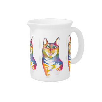 Cool colorful cat pitcher