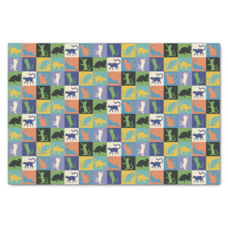 Cool Colorful Cats in Quilt Squares Tissue Paper