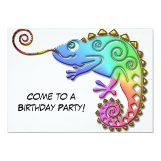 Cool Colorful Chameleon Birthday Party Card