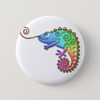 Cool Colorful Chameleon Button