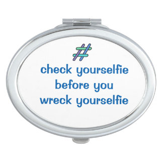 Cool Colorful #checkyourselfie Hashtag Mirror For Makeup