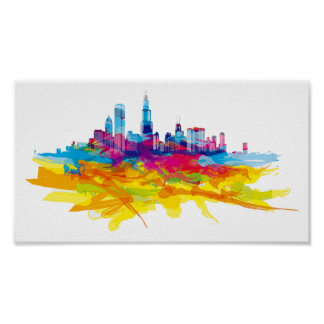 Cool Colorful Chicago Skyline Poster
