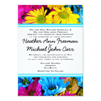 Cool, Colorful Daisies - Yellow, Blue, Pink 5x7 Paper Invitation Card
