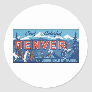 Cool Colorful Denver Air Conditioned by Nature Round Sticker