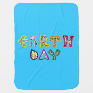 Cool Colorful Earth Day Custom Baby Blanket Blue