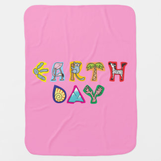 Cool Colorful Earth Day Custom Baby Blanket Pink