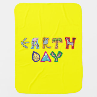 Cool Colorful Earth Day Custom Baby Blanket Yellow