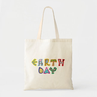 Cool Colorful Earth Day Custom Budget Tote Natural Canvas Bag