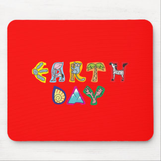 Cool Colorful Earth Day Custom Mousepad Red