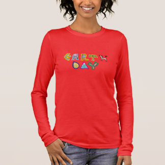 Cool Colorful Earth Day Custom Women's V Neck Long Sleeve T-Shirt