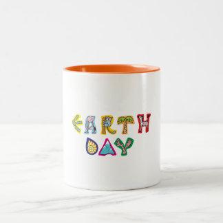 Cool Colorful Earth Day Two-Tone Coffee Mug