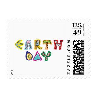 Cool Colorful Earth Day Wrapped Canvas Postage Stamp