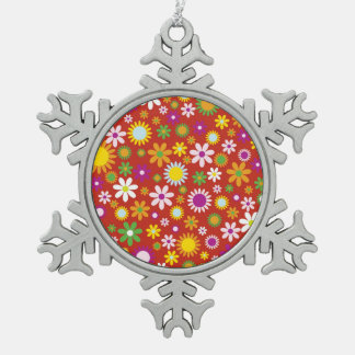 Cool Colorful floral pattern red background Snowflake Pewter Christmas Ornament