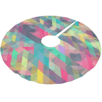 Cool colorful geometric triangles pattern brushed polyester tree skirt