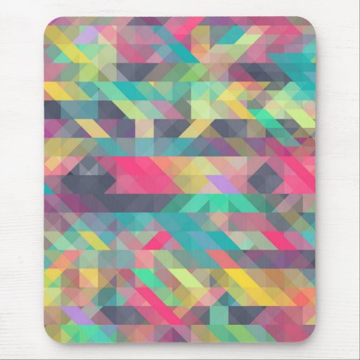 Cool colorful geometric triangles pattern mouse pads