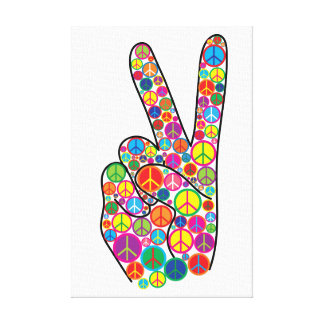 Cool Colorful Groovy Peace Signs Canvas Print