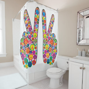 Cool Colorful Groovy Peace Signs Shower Curtain