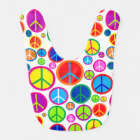 Cool Colorful Groovy Peace Symbols Bib