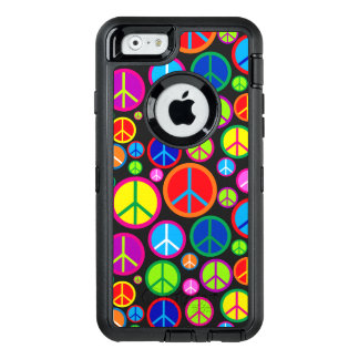 Cool Colorful Groovy Peace Symbols OtterBox Defender iPhone Case