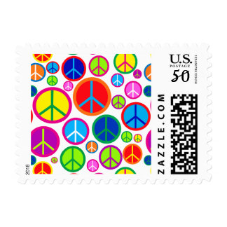 Cool Colorful Groovy Peace Symbols Postage