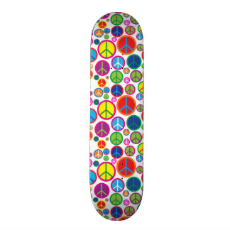 Cool Colorful Groovy Peace Symbols Skateboard