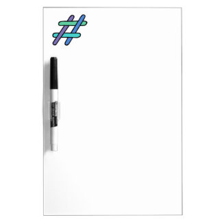 Cool Colorful # Hashtag Blue Green Purple Hashtag Dry Erase Board
