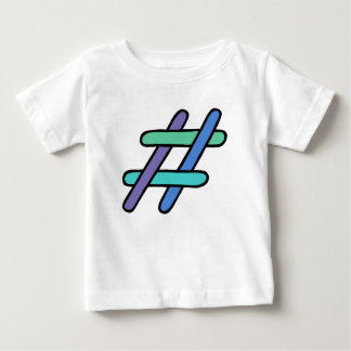 Cool Colorful # Hashtag Blue Green Social Media Baby T-Shirt