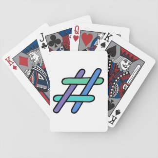 Cool Colorful # Hashtag Blue Green Social Media Bicycle Playing Cards