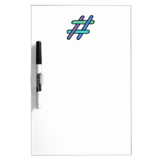 Cool Colorful # Hashtag Blue Green Social Media Dry Erase Board