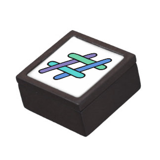 Cool Colorful # Hashtag Blue Green Social Media Jewelry Box