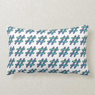 Cool Colorful # Hashtag Blue Green Social Media Lumbar Pillow