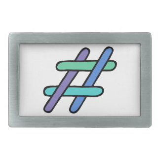 Cool Colorful # Hashtag Blue Green Social Media Rectangular Belt Buckle