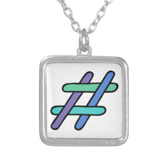 Cool Colorful # Hashtag Blue Green Social Media Silver Plated Necklace