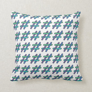 Cool Colorful # Hashtag Blue Green Social Media Throw Pillow