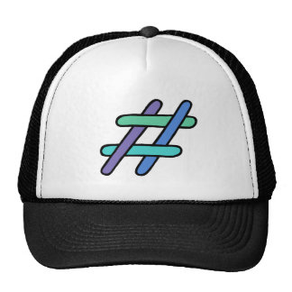 Cool Colorful # Hashtag Blue Green Social Media Trucker Hat