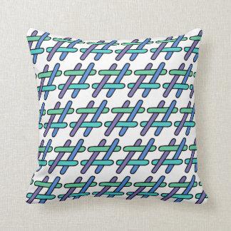 Cool Colorful # Hashtag Plaid Social Media Throw Pillow