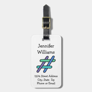 Cool Colorful # Hashtag Social Media Personalized Tag For Luggage