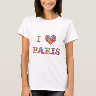 Cool Colorful Heart-filled I Heart Paris T-Shirt