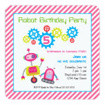 Cool Colorful Kids Birthday Robot Pink Card