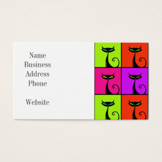 Cool Colorful Kitty Cat Pop Art Business Card