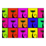 Cool Colorful Kitty Cat Pop Art Greeting Card
