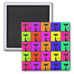 Cool Colorful Kitty Cat Pop Art 2 Inch Square Magnet