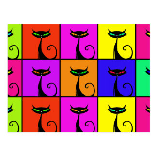 Cool Colorful Kitty Cat Pop Art Postcard