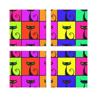 Cool Colorful Kitty Cat Pop Art Squares Canvas Print