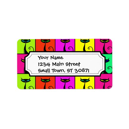 Cool Colorful Kitty Cat Pop Art Squares Label