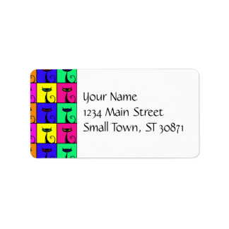 Cool Colorful Kitty Cat Pop Art Squares Personalized Address Label