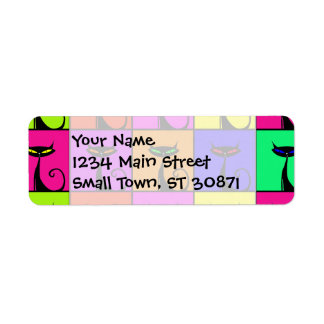 Cool Colorful Kitty Cat Pop Art Squares Custom Return Address Label