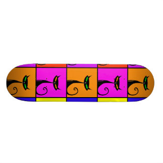 Cool Colorful Kitty Cat Pop Art Squares Skate Boards