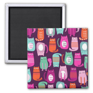 Cool Colorful Kitty Cat Print 2 Inch Square Magn Magnet