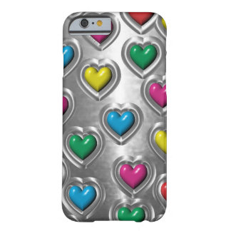 Cool Colorful Metal Look Hearts iPhone 6 case